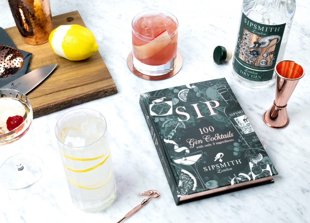 SIP cocktail recipe book with ingredients